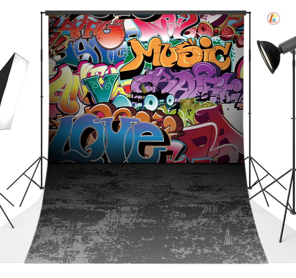 LB 5x7ft Graffiti Style Vinyl Photography Backdrop Customized Photo Background Studio Prop TY111 by LB