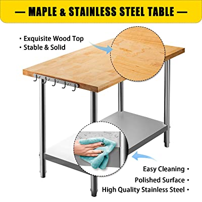 Buy Vevor Maple Top Work Table 36 X 30 Inches Stainless Steel Kitchen Prep Table Wood 1 5 Inch Thick Kitchen Maple Table With Lower Shelf And Feet Stainless Steel Table For Home
