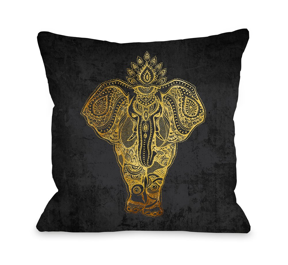 One Bella Casa 75043PL16 ''India Ele Gold'' Pillow by OBC, 16'' x 16'', Black