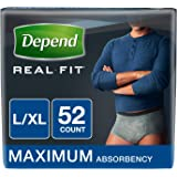 Depend Real Fit Incontinence Underwear for Men, Maximum Absorbency, Large/X-Large, Grey, 52 Count