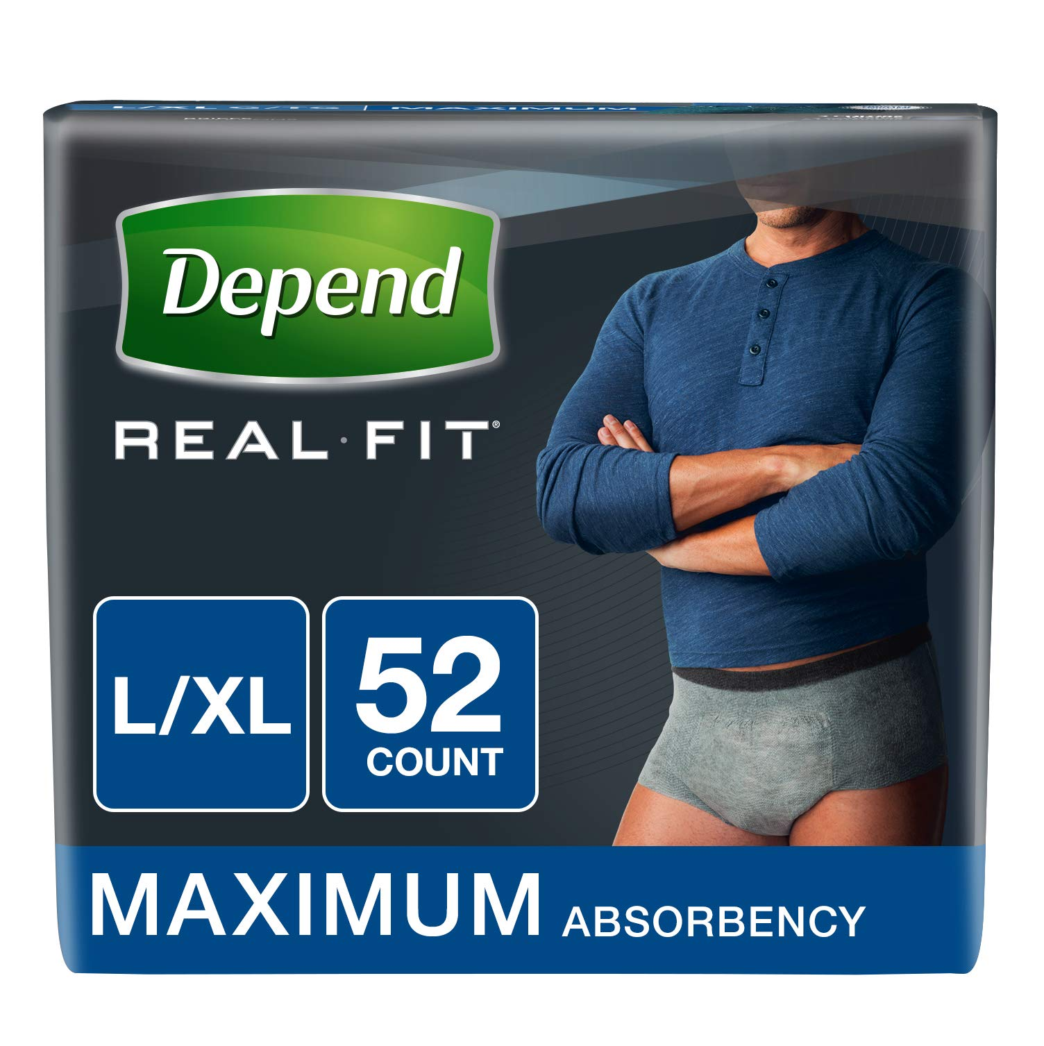 Depend Real Fit Incontinence Underwear for Men, Maximum Absorbency, L/XL, Grey, 52 Count by Depend