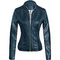 74cf65bd24617 Marte Joven Women s Lightweight Slim Faux Leather Motorcycle Biker Zip Up Jacket  Coat