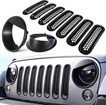 Danti Front Grille Inserts Covers Grill Trim for 2018 Jeep wrangler JL Sport//Sports (7pcs//set) wenwen top