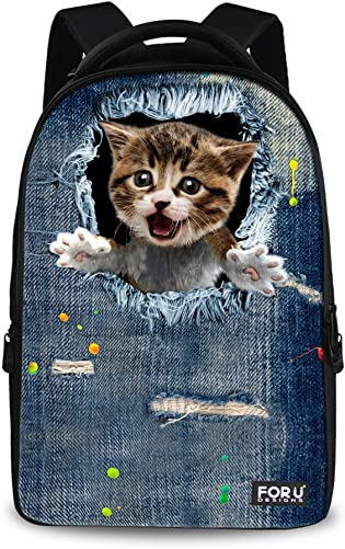 FOR U DESIGNS 15inch Lovely Kitty Daily Hiking Travel Backpack for Kids Children