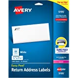 """Avery Return Address Labels with Sure Feed for Laser Printers, 2/3"""" x 1-3/4"""", 1,500 Labels, Permanent Adhesive (5195)"""