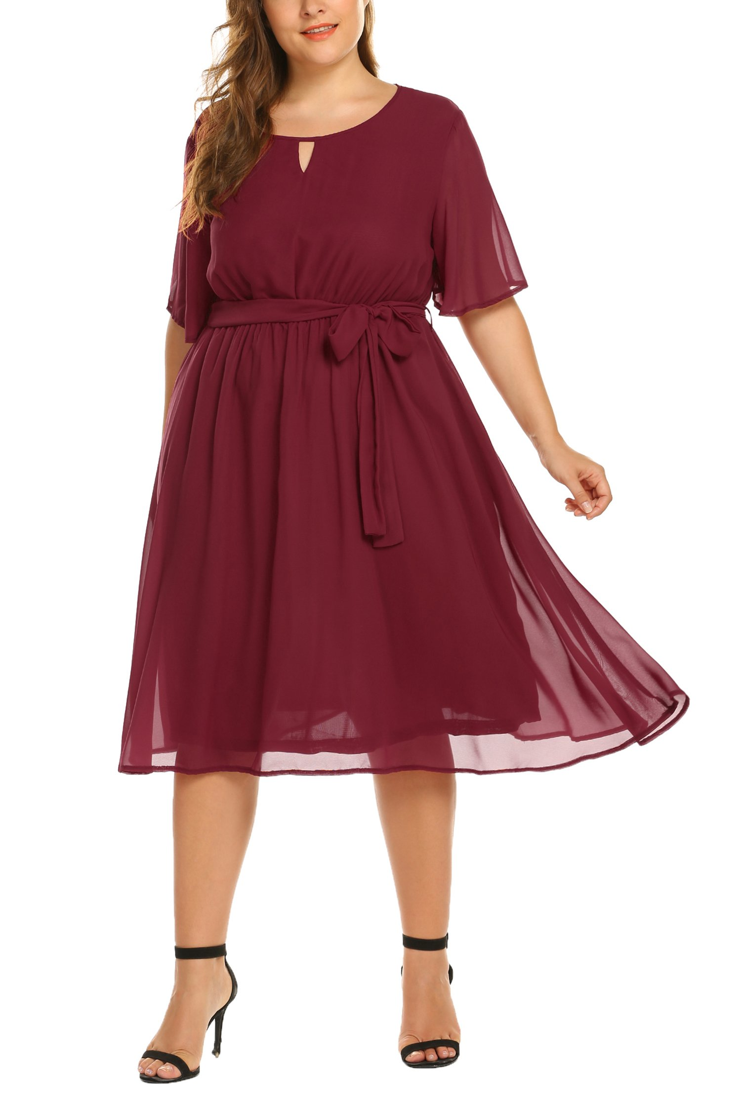 IN'VOLAND Women's Plus Size Casual Short Flutter Sleeve O Neck Flare Flow Chiffon Long Formal Midi Dress