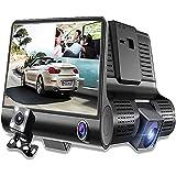 SQDeal Car Dash Cam Dual Lens, FHD 1080p Car DVR Dash Video Recorder 170 Degree Wide Angle, G-Sensor, Motion Detation, Loop Recording, Parking Mode, Waterproof + Night Vision Rearview Camera (Black)