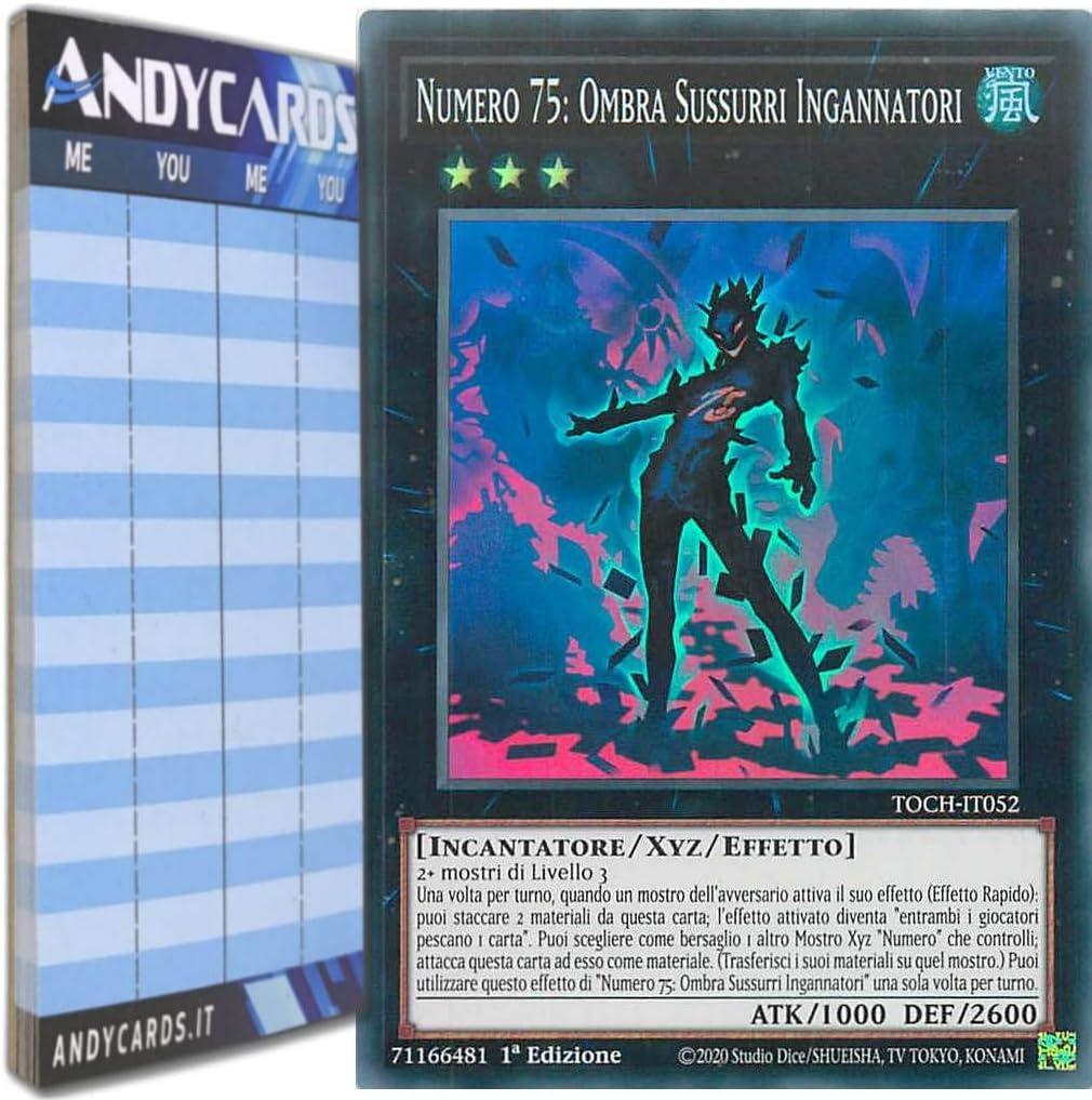 Andycards Yu-Gi-Oh! Super Rara TOCH-IT052 in Italiano Segnapunti Numero 75: Ombra SUSSURRI INGANNATORI