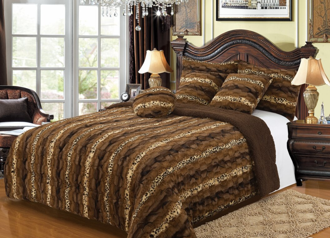 Bella Safari Plush Throw Blanket Comforter, Fur 6 Piece Set AK608 King by Bella