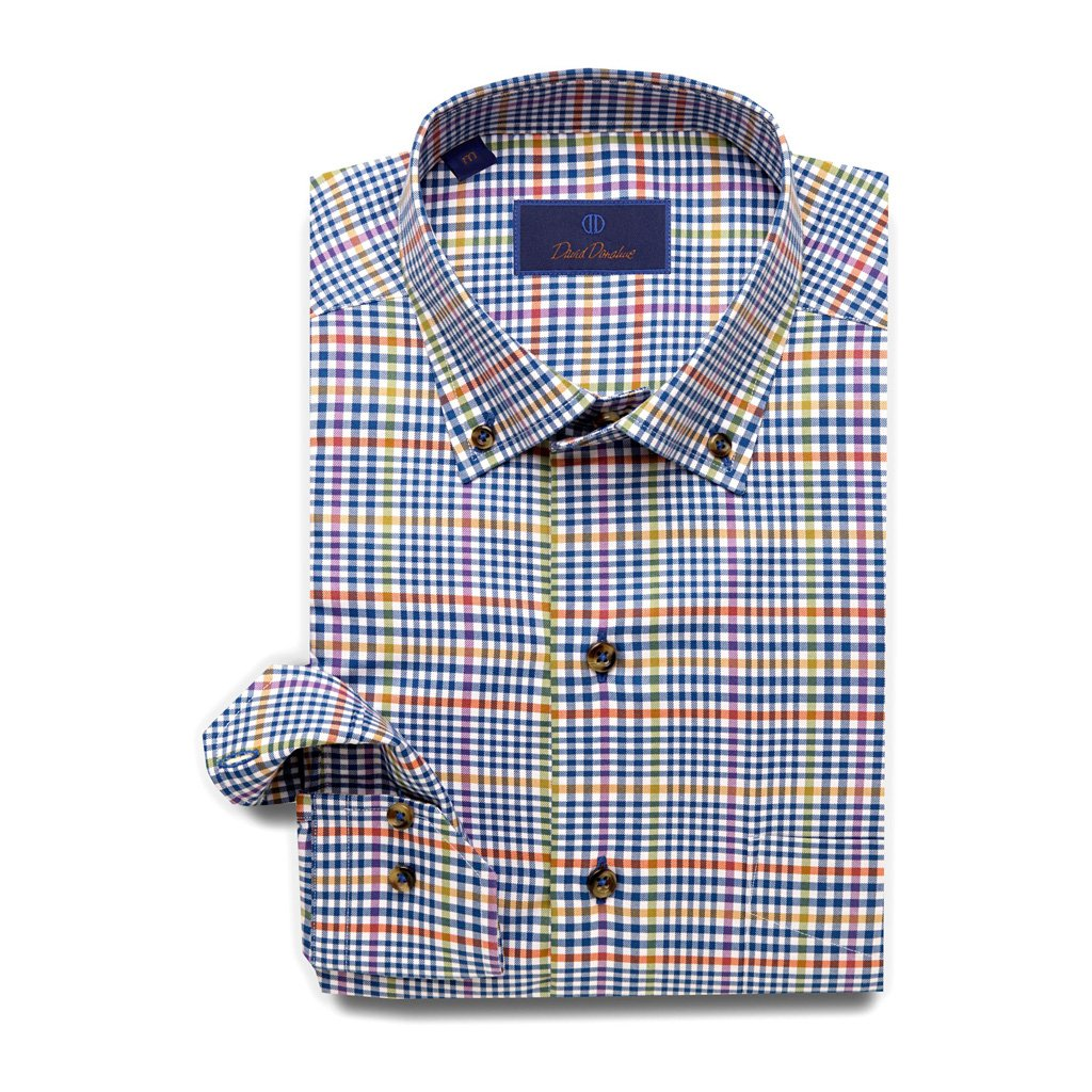 David Donahue Super Fine Twill Barrel Cuff Sport Shirt Large Blue by David Donahue (Image #1)