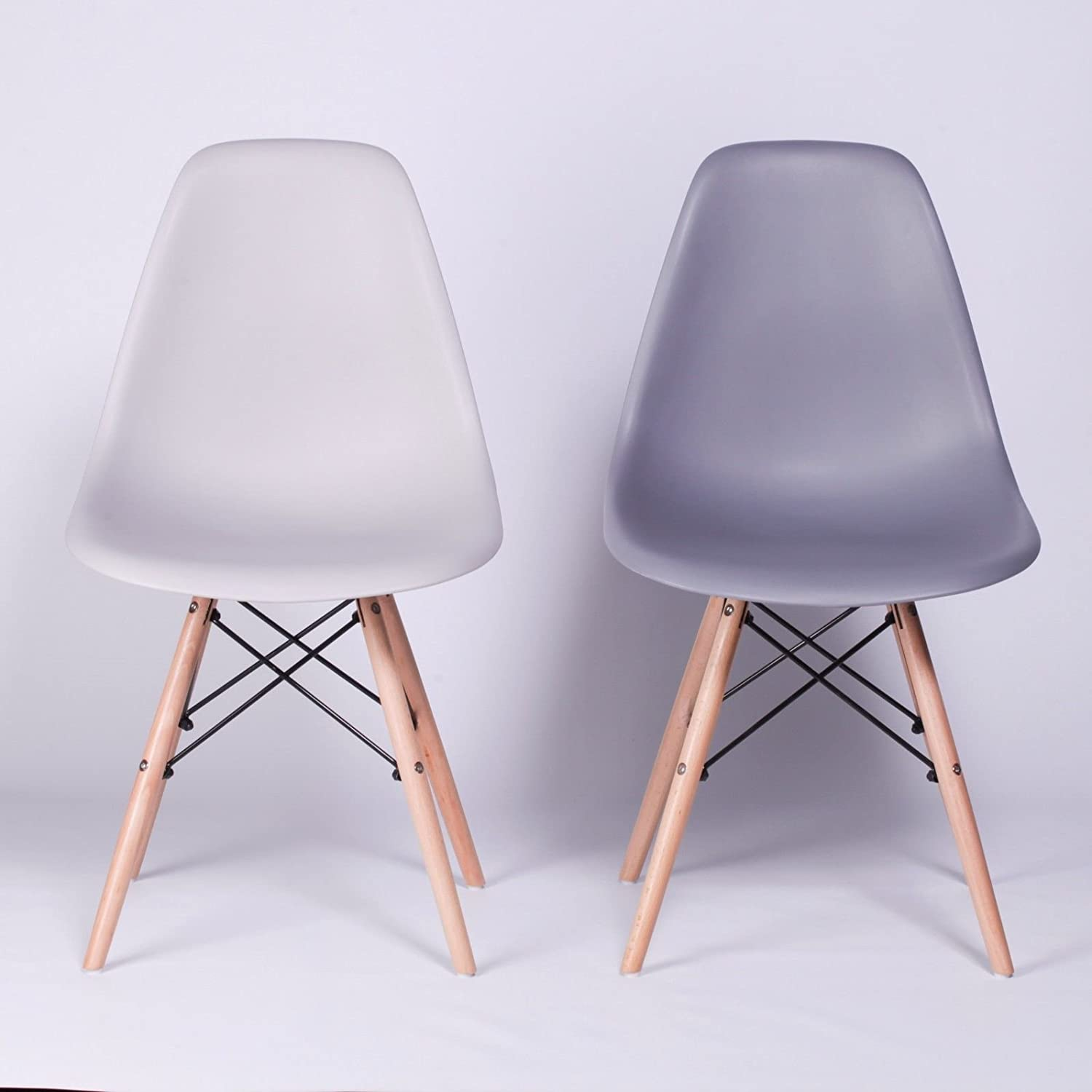 EAMES GREY STYLE EIFFLE DSW RETRO DINING CHAIR RESTAURANT CAFE OFFICE WOOD LEGS (Dark Grey) LMC