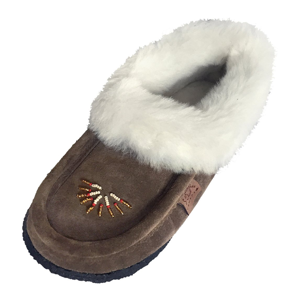 Laurentian Chief Women's Sheepskin Lined Smoke Suede Moccasins Slippers with Crepe Sole (8)