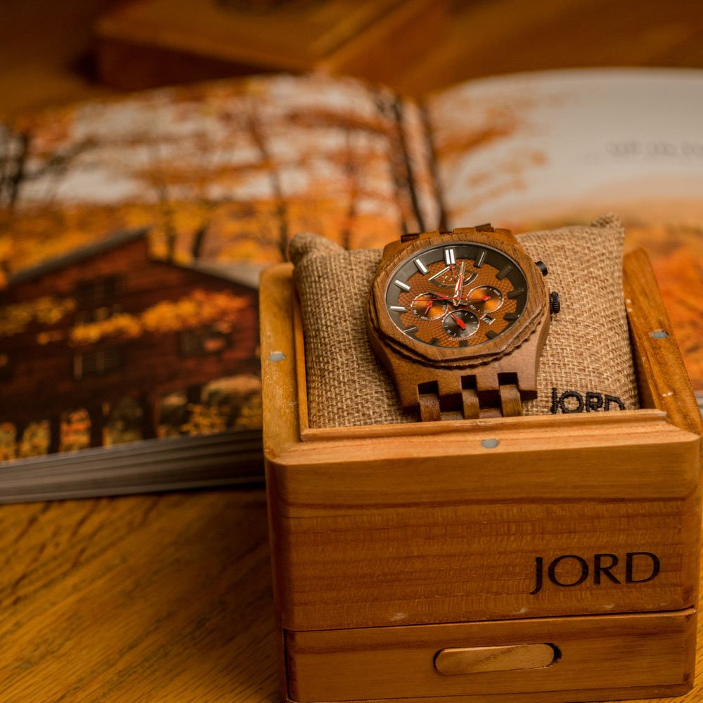 Jord relojes de madera para hombres - Sawyer serie Cronógrafo Automático/madera reloj banda/madera Bisel/Self Winding movimiento - incluye caja de madera ...