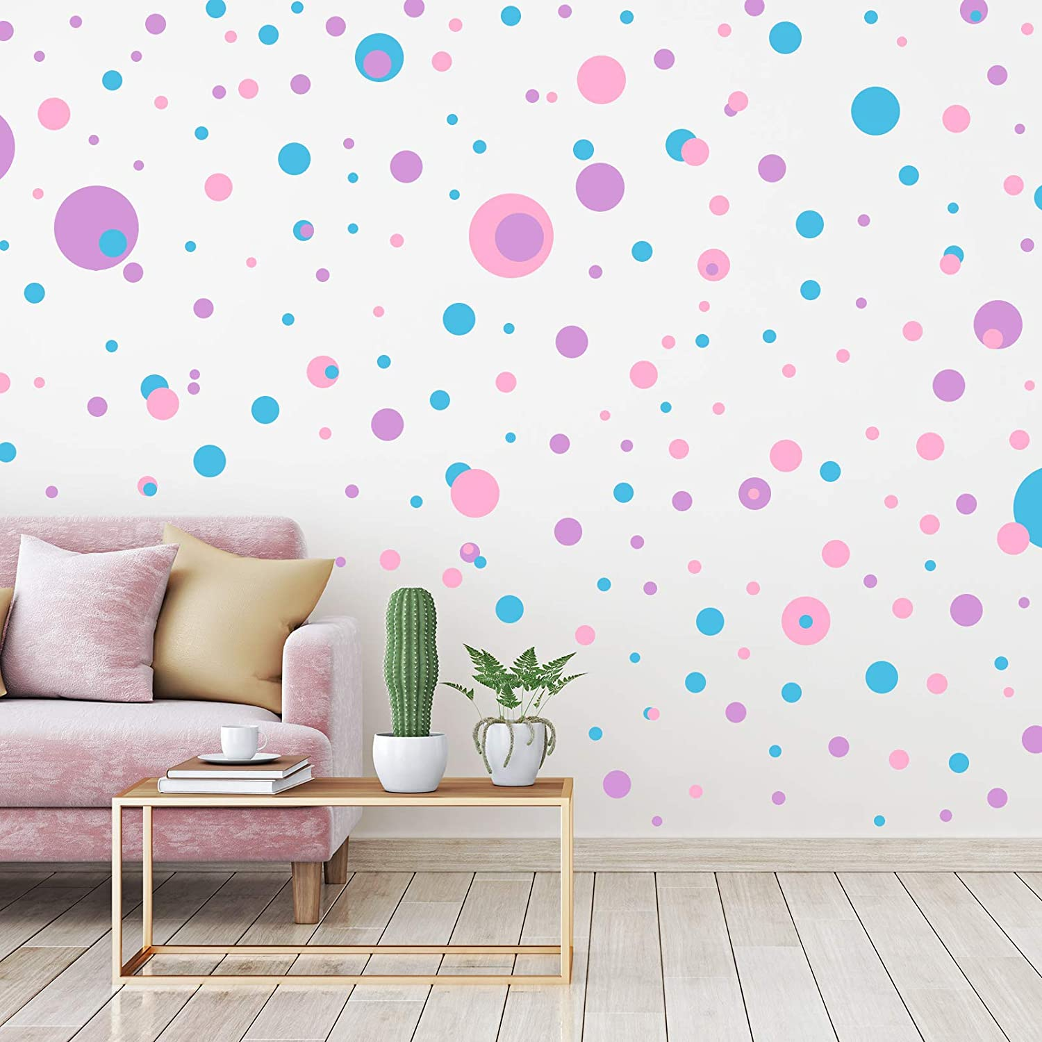 264 Pieces Polka Dots Wall Sticker Circle Wall Decal for Kids Bedroom Living Room, Classroom, Playroom Decor Removable Vinyl Wall Stickers Dots Wall Decals, 8 Different Size (Lilac, Pink, Mint Green)