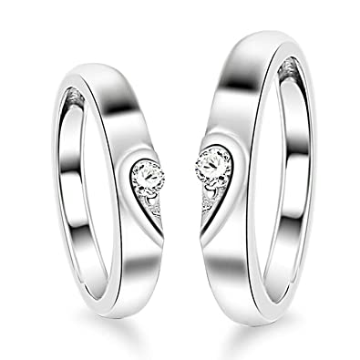 dc794e265e Moneekar Jewels 925 Sterling Silver 2 Pcs His And Her Heart Shape Matching  Adjustable Couple Ring For Women & Men: Amazon.in: Jewellery