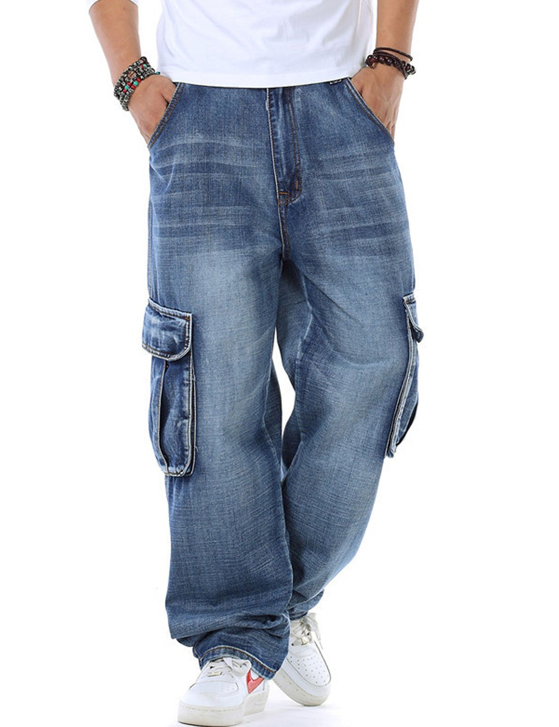 Mens Hip-hop Blue Casual Multi-pocket loose denim shorts Cropped jeans Plus Size
