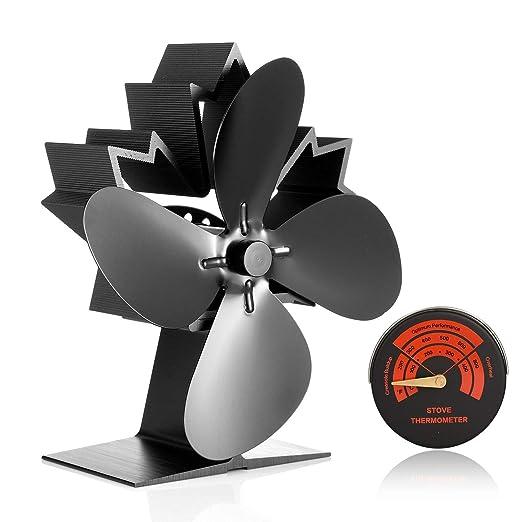 Potente ventilador de chimenea de 4 aspas para leña o quemador de ...