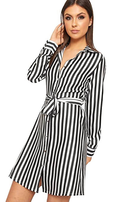 e02a32f76a44 WearAll Women's Striped Long Sleeve Satin Short Shirt Dress New Ladies  Belted Button Top 8-14: Amazon.co.uk: Clothing