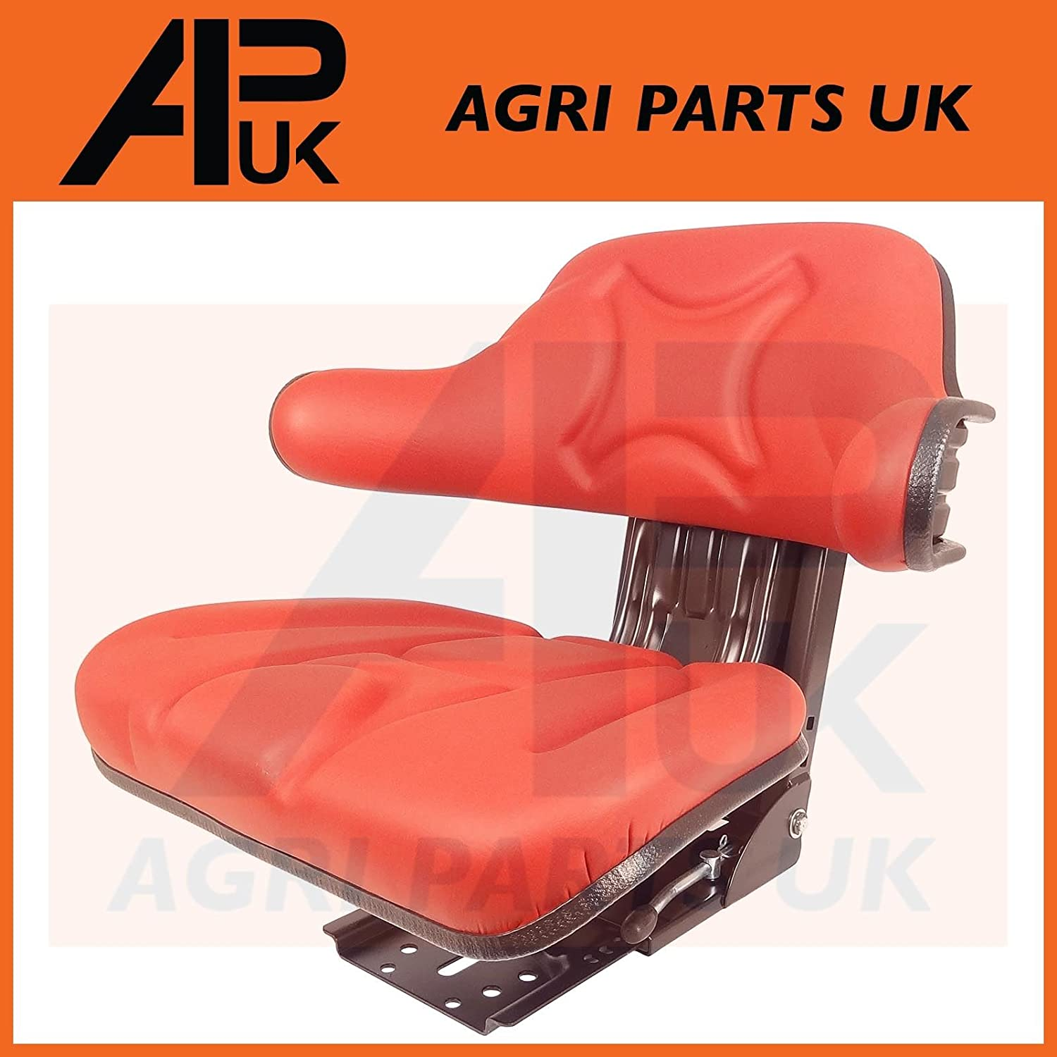 APUK QUALITY UNIVERSAL ADJUSTABLE SUSPENSION SEAT WITH ARM REST TRACTOR DUMPER FORKLIFT RIDE ON MOWER DIGGER RED WATERPROOF Agri Parts UK Ltd