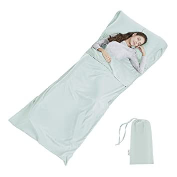 Sábana para Saco de Dormir - para Acampada y Viaje - Forro Térmico De Viajes y Campinghoja Mummy Sleeping Bag Liner: Amazon.es: Deportes y aire libre