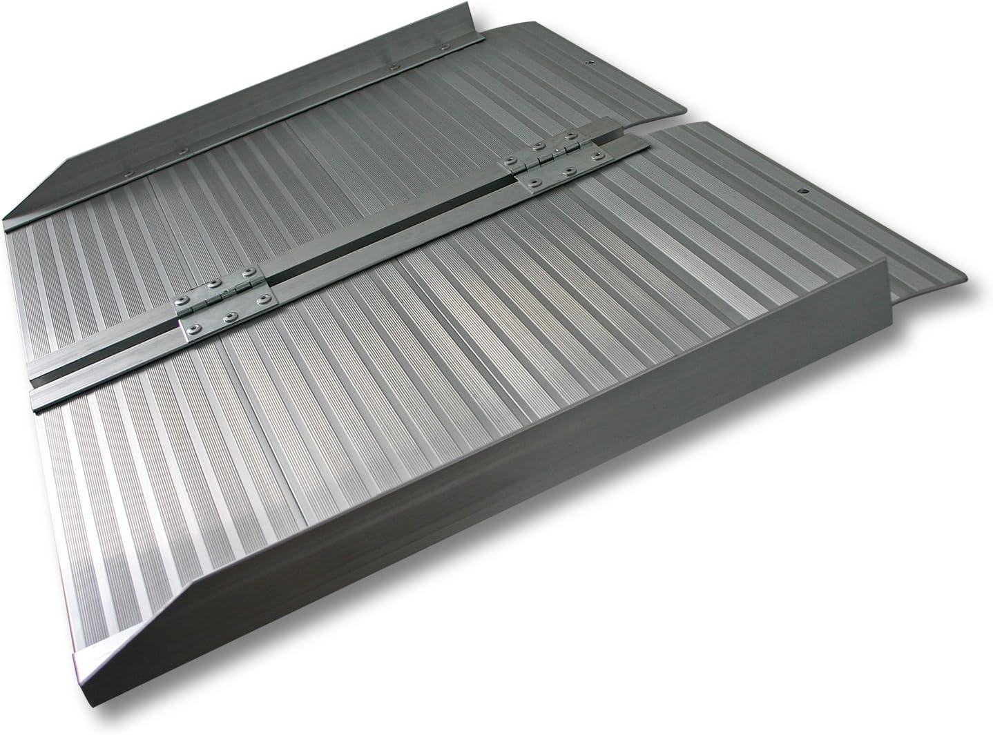 WilTec Rampa Silla Ruedas Plegable 122cm 270kg Aluminio portátil Plana Minusválidos Acceso Sin barreras