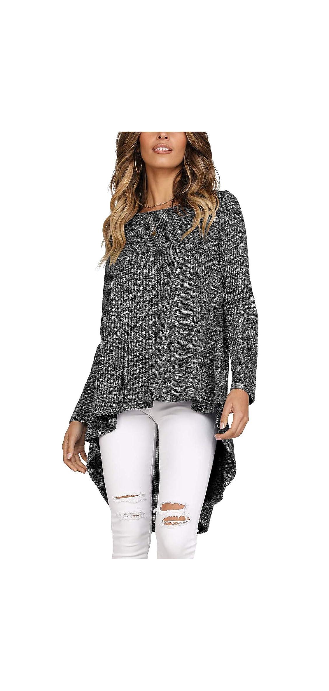 Womens Sweater Long Sleeve Asymmetrical High Low