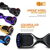 """Cho 6.5"""" inch Chrome Hoverboard Electric Smart Self Balancing Scooter with Built-in Wireless Speaker LED Wheels and Side Lights- UL2272 Certified"""