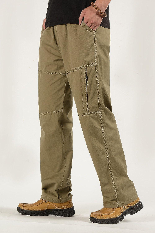 Mens Cotton Cargo Pants Casual Full Elastic Waist Work Pant