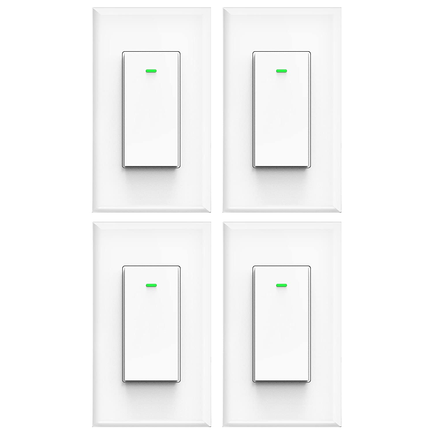 Smart Light Switch, Wifi Light Switch No Hub Required, Phone Remote Control Wireless Decora Switch, Requires Neutral Wire, Timing Schedule, Compatible with Alexa and Google Home Kuled K36 (4pack)