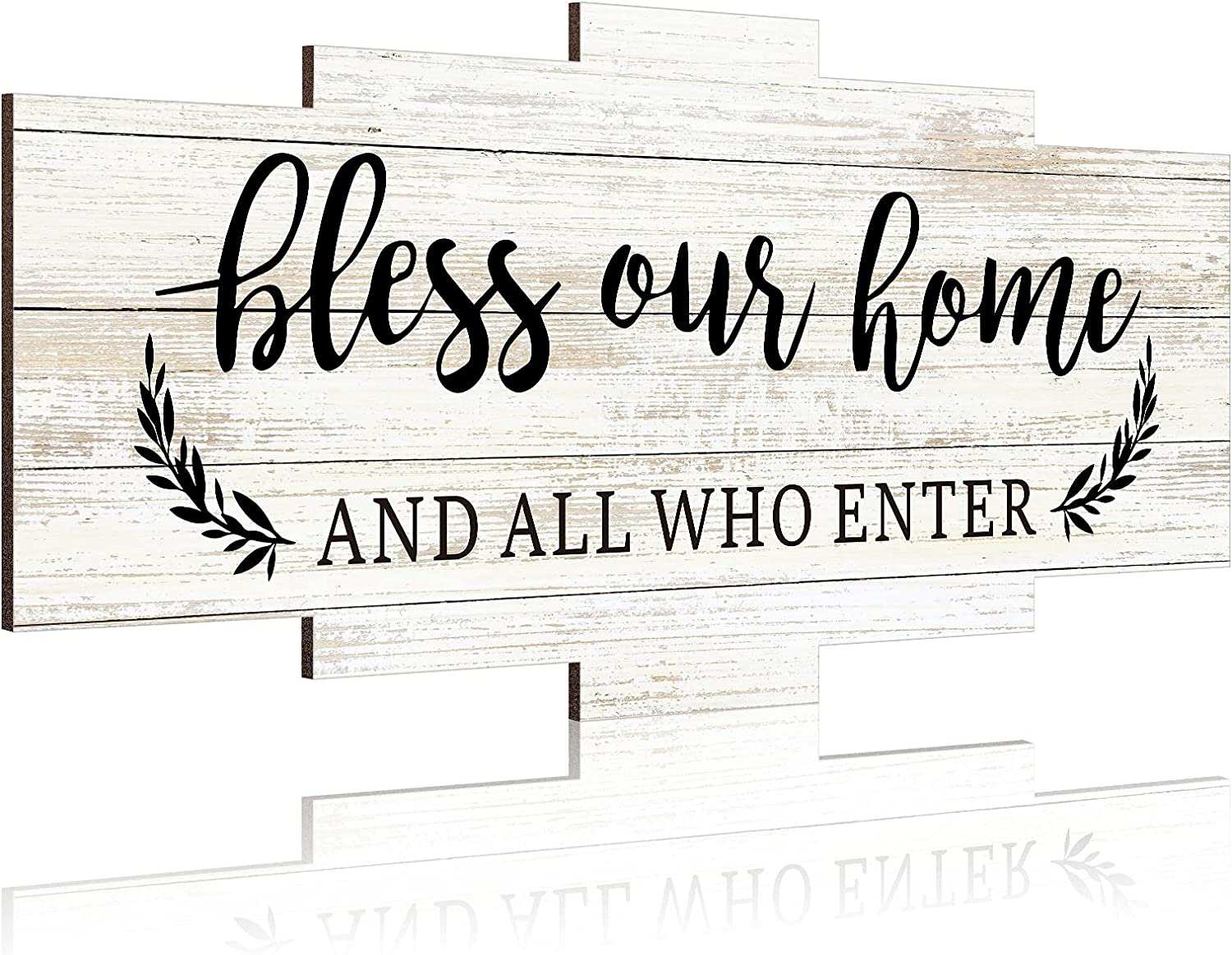Jetec Bless Our Home Rustic Wall Decor Wood Home Sign, Hanging Wooden Home Sign, Rustic Wood Wall Sign Decoration Wooden Wall Art Sign for Bedroom, Wall Decor for Living Room Kitchen
