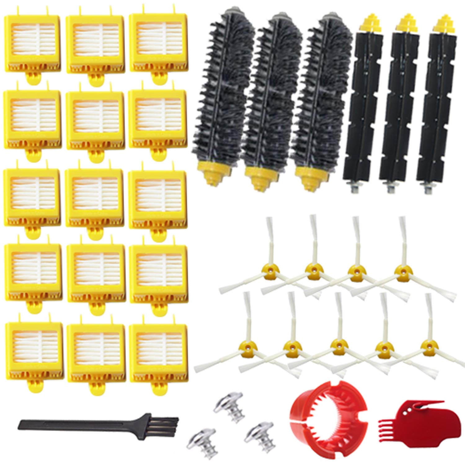 VacuumPal Replacement Parts Kit Hepa Filters & Bristle Brush & Flexible Beater & Armed-3 Side Brush & Cleaning Tools for iRobot Roomba 700 Series 760 770 780 790 Vaccum Accessories