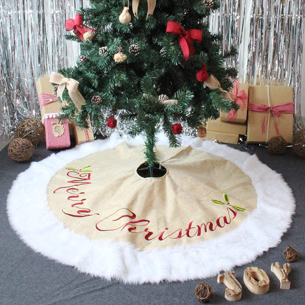 AEE LIFV Christmas Tree Skirts 36 inch White Plush Faux Fur Tree XmasTree Skirt for Christmas Decoration New Year Party Holiday Decorations Pet Favors