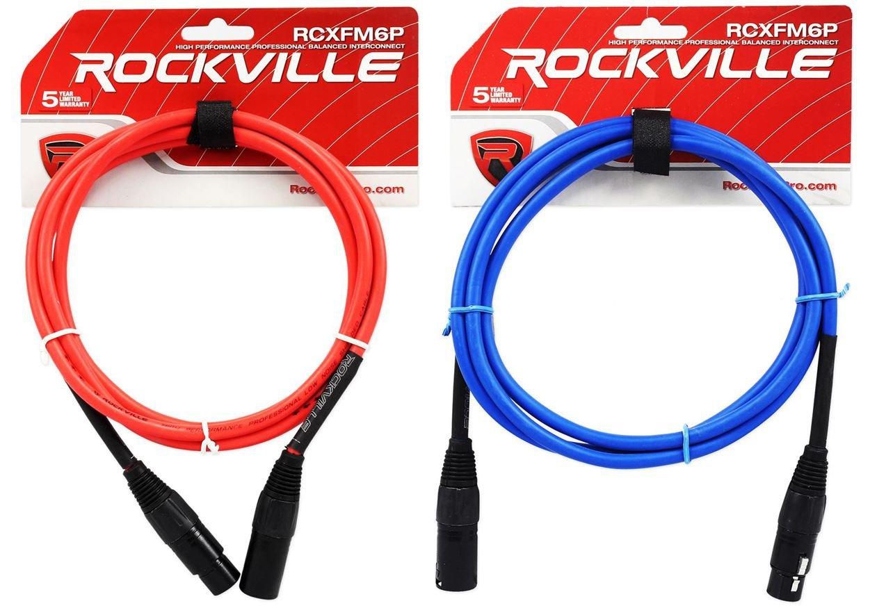 2ロックビル6 'メスtoオスREAN XLRマイクケーブル100 %銅線(赤と青) B01N3LW3IG