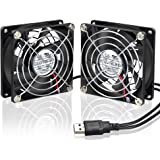 ELUTENG Cooling Fan 80mm Small USB Computer Fan Portable Mini Ventilation Dual Portable 5V Gaming PC Radiator for PS4 Desktop Router Water