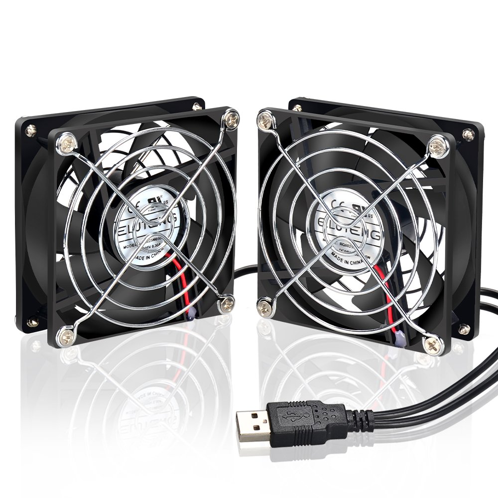 Eluteng 80mm Ventilador Mini 2 Pack Silencioso Usb Fan Para Pc  # Muebles Moedano