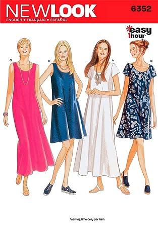 New Look 6352 Damenkleider Nähmuster, Größe A, mehrfarbig: Amazon.de ...