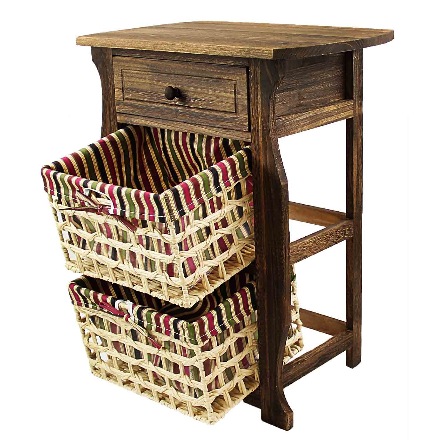 Jerry & Maggie - Nightstand Classic Countryside Dark Brown Wood - Night Stand Storage bedside table with 2 Vine Weaved Basket & 1 Drawer Real Natural Indus Wood Texture