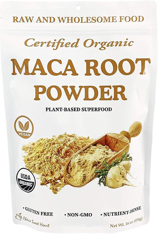 Cherie Sweet Heart Maca Powder Organic, Peruvian Root Premium Grade Superfood (Raw), Perfect for Breakfast, Smoothies, Baking, Ice Cream (16 oz)