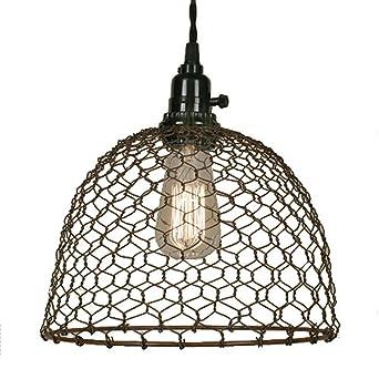 Chicken wire dome pendant light in primitive rust finish ceiling chicken wire dome pendant light in primitive rust finish keyboard keysfo Choice Image