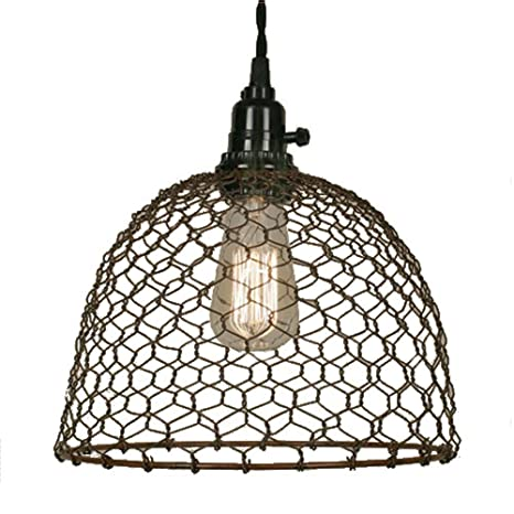 Chicken wire dome pendant light in primitive rust finish ceiling chicken wire dome pendant light in primitive rust finish aloadofball Gallery