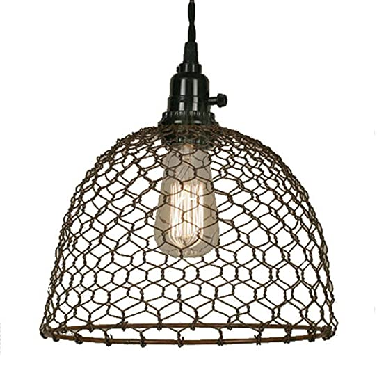 Chicken wire dome pendant light in primitive rust amazon home chicken wire dome pendant light in primitive rust greentooth Image collections