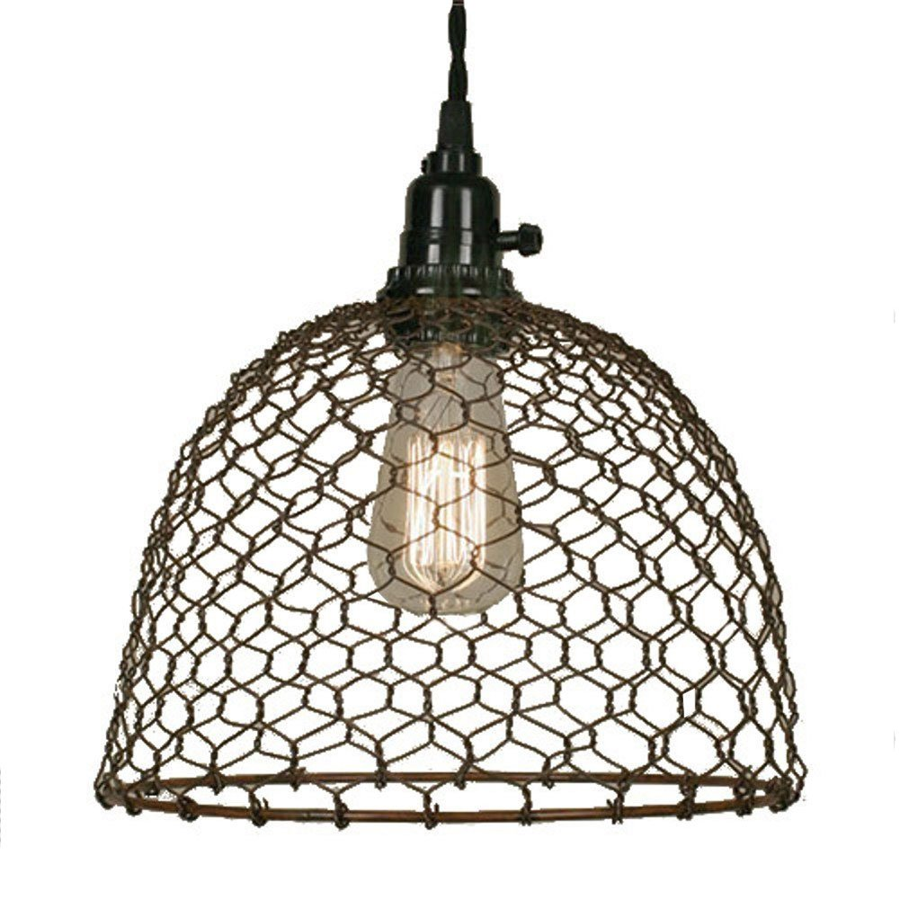 Chicken Wire Dome Pendant Light in Primitive Rust Finish by Colonial Tin Works