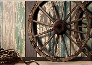 Wood Backdrop Backgrounds for Photography, Nativity Backdrop 7x5ft Wooden Plank Wall Vintage Country Wheel Photo Backdrops, backdrops for Video Recording SL005