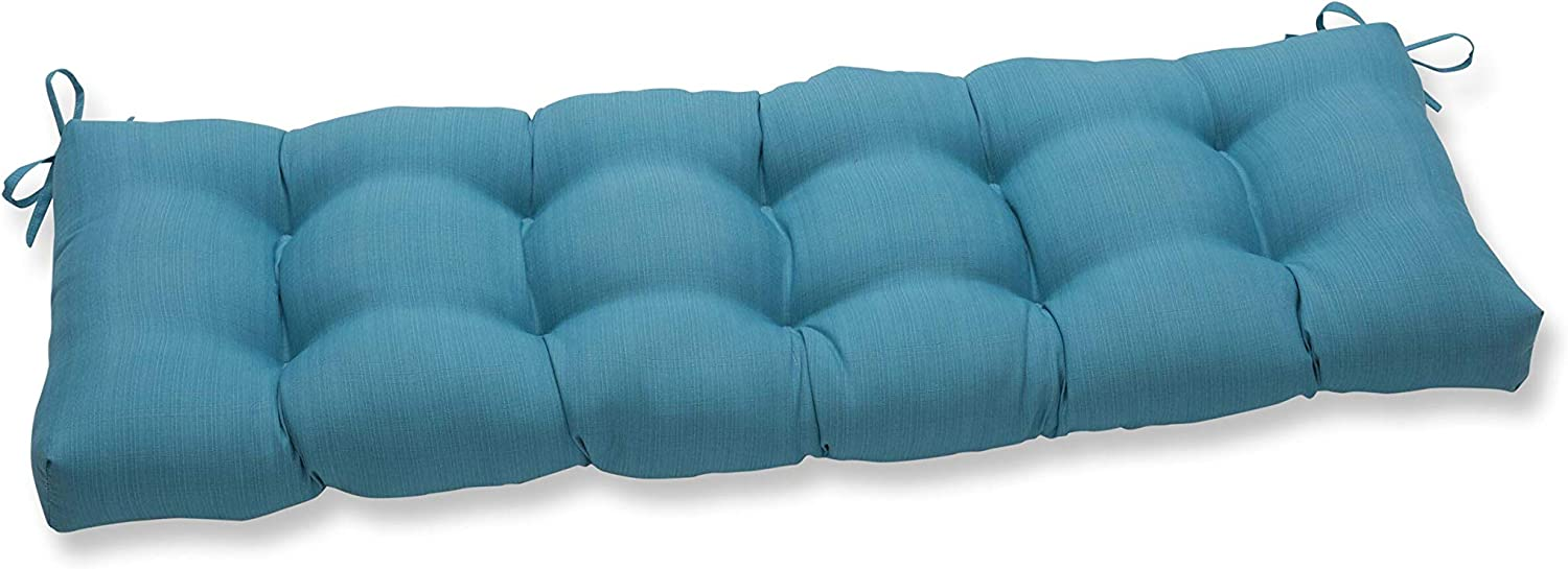 "Pillow Perfect 650104 Outdoor/Indoor Forsyth Pool Tufted Bench/Swing Cushion, 56"" x 18"", Turquoise"