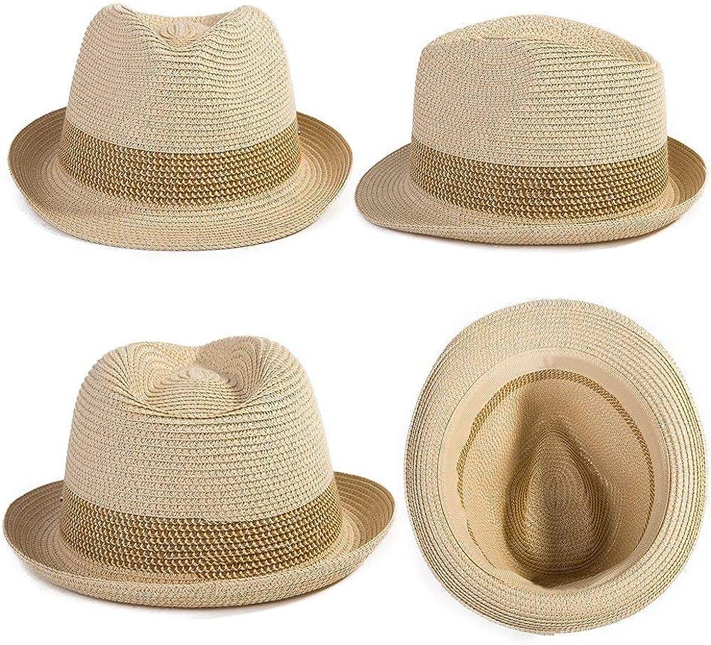 Chapeau de Plage Safari Beige Pliable Chapeaux de Soleil Paille Fedora Trilby Panama Summer pour Hommes