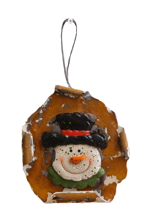 Your Hearts Delight muñeco de Nieve Cabeza de Rusty Tin Placa decoración, 15,2cm