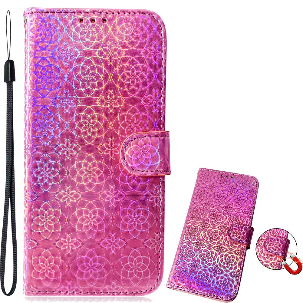 Brilliant Slim Bookstyle Compatible with Samsung A10,Bling Glitter Diamond Loves Sparkle Flip Wallet Leather Stand Kickstand Function Magnetic Switch Closure Card Slots Protective