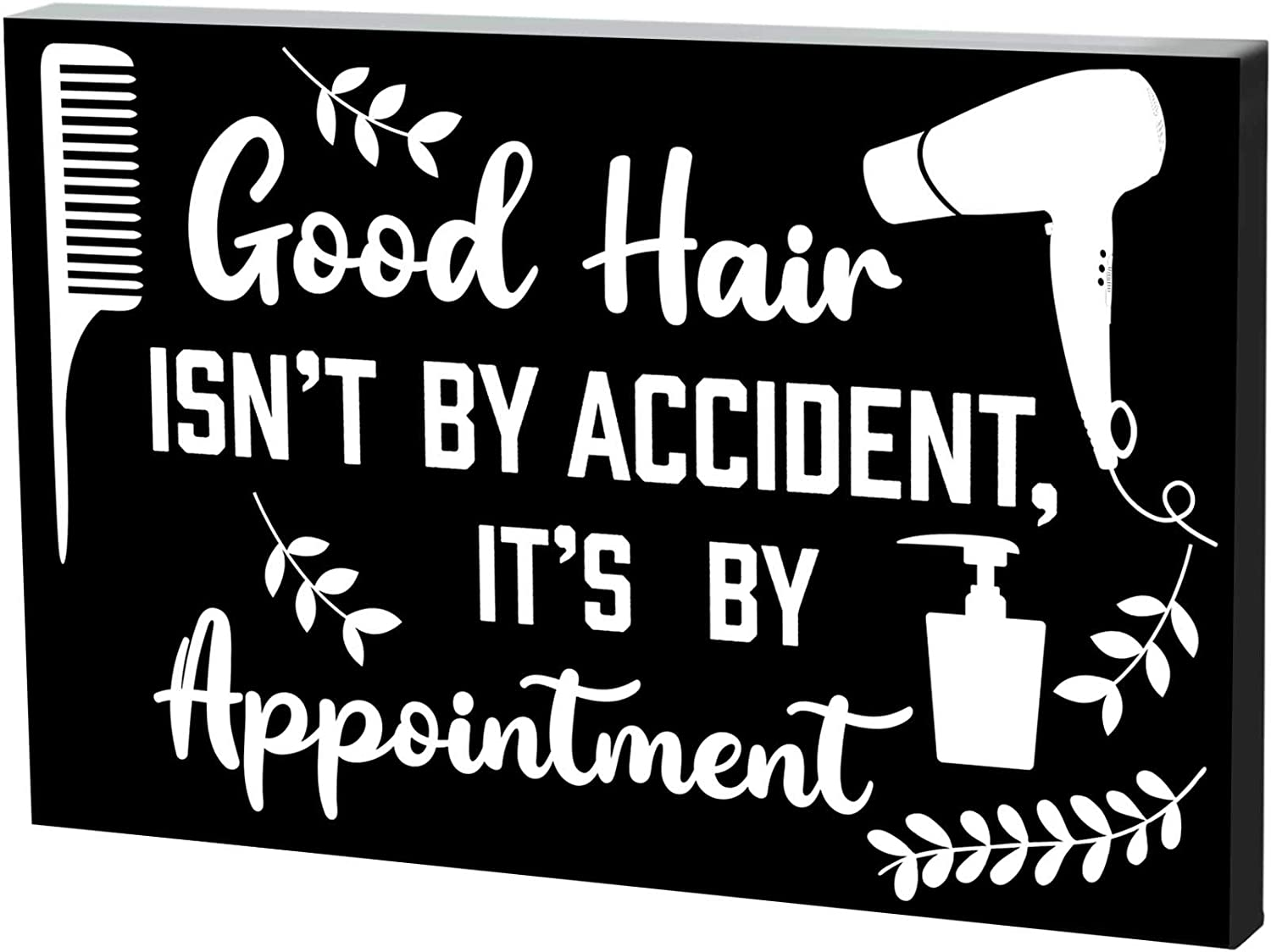 Hair Dresser Decor Sign Box Good Hair Isnt by Accident Its by Appointment Wood Sign 7.9 x 5.1 Inch Hair Salon Wooden Plaque Good Hair Wooden Sign Blocks for Home Wall Table Barber Shop Decoration
