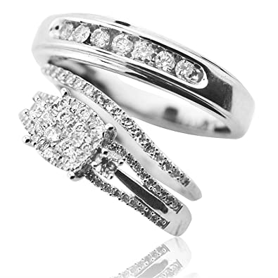 Amazoncom Bride and Groom Rings Set White Gold and Real Diamonds