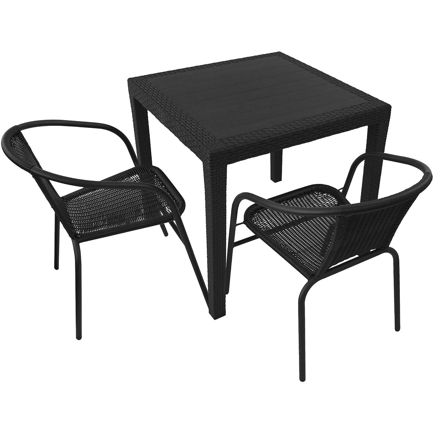 3tlg balkonm bel set gartentisch vollkunststoff rattan optik 79x79cm poly rattan bistrostuhl. Black Bedroom Furniture Sets. Home Design Ideas